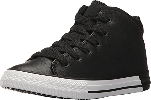 Converse Kids Chuck Taylor All Star Official Mid Little Boys Shoes (12.5 Little Kid M, Black/Black/White)