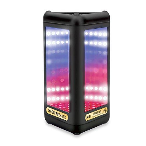 LED Altavoz Bluetooth Bocina Portátil Inálambrico Triángulo Visual Altavoz Interior/Al Aire Libre Deporte Speaker con Subwoofer, Micrófono, Espejo Mágico, el Bajo Sonido para Teléfonos Móviles, iPhone, Samsung, etc(Triángulo) - Milool