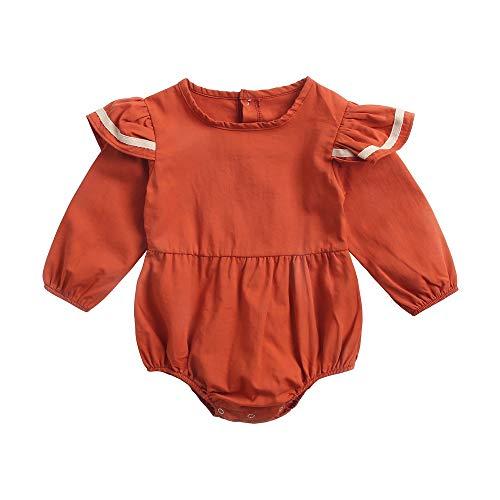 Sanlutoz Mode Coton Longue sans Manches Bodys Hiver Barboteuse pour Filles Tenue (12-18 mois/80cm, BRW8157-RD)