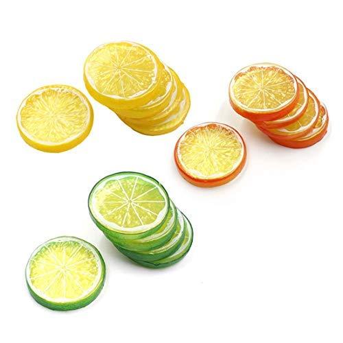 Lorigun 30 stücke Gefälschte Zitronenscheibe Garnieren Künstliche Frucht Faux Food Haus Dekoration (Rot Grün Gelb, Jede Farbe 10 Stücke) - Scheiben Künstliche Zitrone