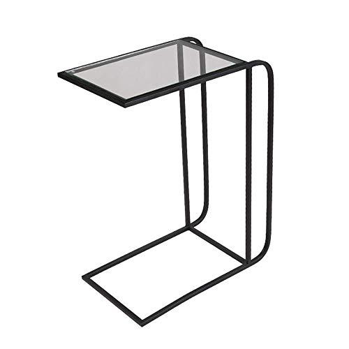 BJYG Klapptisch Snack Tisch aus massivem Glas Hochleistungs tragbares Wohnzimmer Schlafzimmer Sofa Beistelltisch Beistelltisch Laptop Schreibtisch Couch Ständer C Tisch Gold schwarz (Farbe: SC - Glas-funktionale Computer-schreibtisch