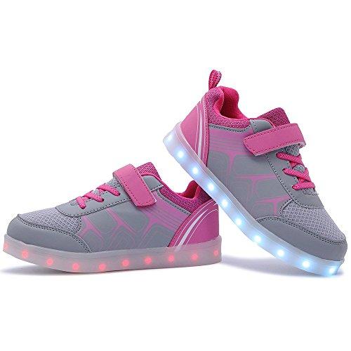 HUSK'SWARE Unisex Kinder Jungen Mädchen LED Schuhe mit USB Sportschuhe Sneakers Rosa