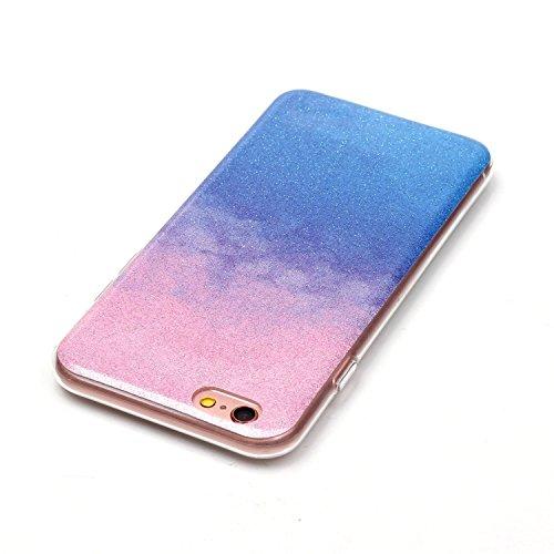 iPhone 6 Hülle, iPhone 6S Hülle, E-Lush Mode Muster TPU Hülle für Apple iPhone 6 6S(4,7 zoll) [Kratzfeste, Scratch-Resistant] Weiche Flexibel Silikon Handyhülle Gradient Crystal Bling Clear Transparen Rosa Blau