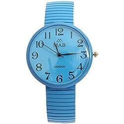 Unisex Turquoise Coloured Expandable MAB Designer Fashion Metal Watch Round Expander Bracelet Extra Battery