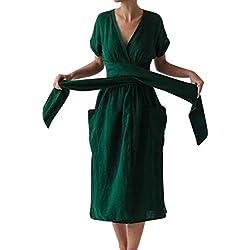 TAOtTAO Vestido Largo de Verano para Mujer, Talla Grande, Color Liso, Color Verde