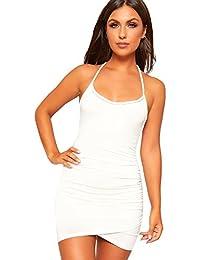 WearAll - Damen Strappy Geöffnet Zurück Neckholder- Strecke Bodycon Mini Kleid  Damen Party - 34 958c547c11