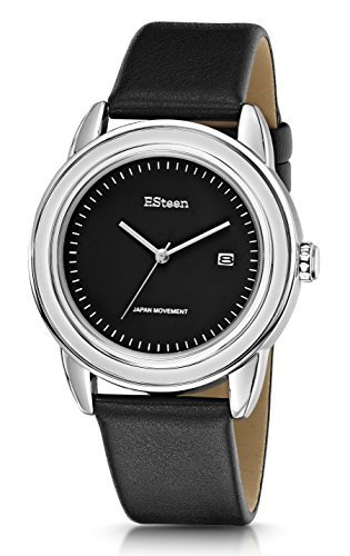 F.Steen Herren-Armbanduhr Summit -FS3D3, Japanisches Quarz, Trendige Optik, silberfarbenes Gehäuse, modische Analoguhr mit echtem Lederband