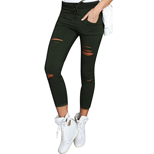 Xmiral Women Pants Cotton Skinny Ripped Pants High Waist Stretch Slim Drawstring Tied Pencil Trousers