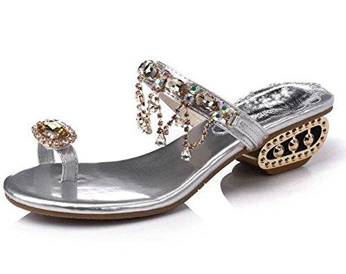 Sommer-Mode wilde Toe Frau Sandalen und Pantoffel Diamant Quaste Tanga Frau Silver