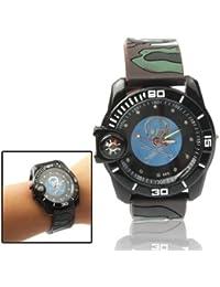 JIALUN-Relojes Reloj de Personalidad Reloj de Reloj analógico de cráneo Estilo Camuflaje de Cuarzo con Reloj y brújula de Silicona (SKU : S…