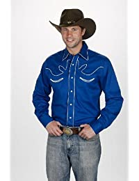 Western Chemise country LineDance USA - Bleu royal - Homme - Taille XL - 890-ROYAL
