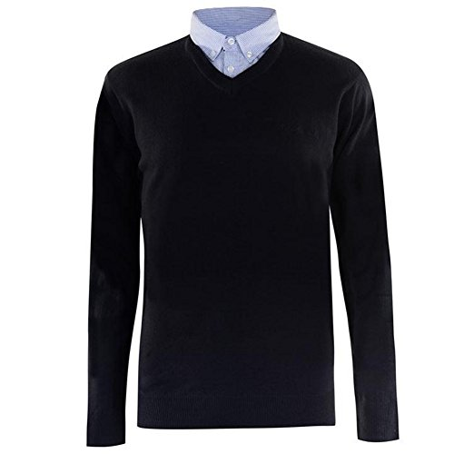 Pierre Cardin Mens New Season V-Neck Knitted Jumper with Mock Shirt Collar Insert 8