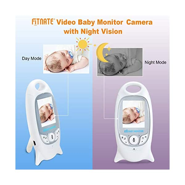 MYPIN Wireless Baby Video Monitor with Digital Camera, 2.0 Inch Screen Night Vision & Two-Way Talk LCD Display Temperature Monitor MYPIN Temperature Monitoring and LED Night Vision:You can measure the temperature around your baby easily using the baby monitor.The night vision will turn on automatically when you put the camera in the dark. Built-in lullabies: You can play built-in lullabies to comfort your babies whenever you want and help babies falling asleep 2-Way Talk Back & : With the two-way communication function, parents can speak soothing words to babies and put baby at ease when babies getting agitated at night 6