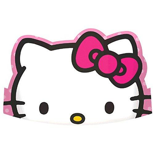 American Greetings Hello Kitty Rainbow Papier gestanzt Tiaras Geburtstag Gastgeschenke (8Stück), Pink, 30,5x 8,4cm (Kitty Hello Tiara)