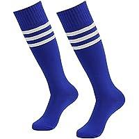Westeng 2par Long-barreled Rayas Calcetines de Animadora de Fútbol Baloncesto Deportes Calcetines de Algodón Calcetines de Caña Alta Hombre Mujer,Azul