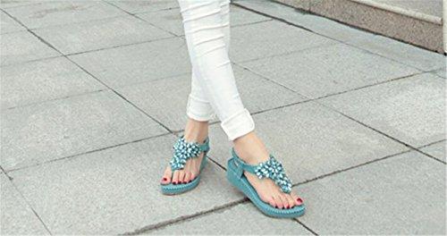 SHUNLIU Damen Mädchen Sommersandalen Neue Diamant Sandalen Flipflopsandalen handgemachte Schuhe Zehentrenner Sandalen Freizeit Mädchen Sandalen Blau