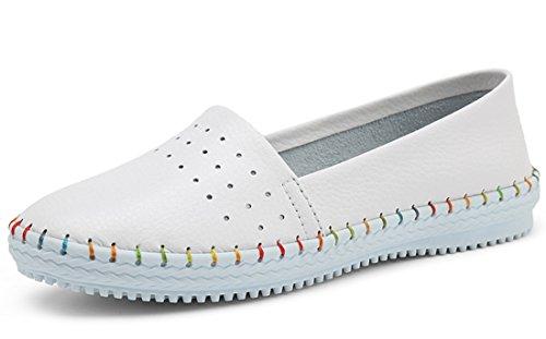 TDA ,  Damen Durchgängies Plateau Sandalen mit Keilabsatz Weiß