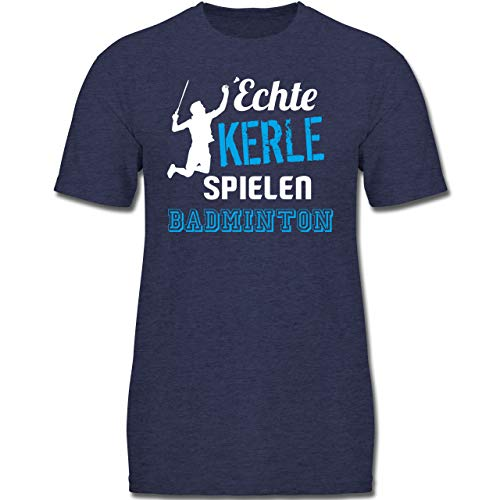 Sport Kind - Echte Kerle Spielen Badminton - 140 (9/11 Jahre) - Dunkelblau Meliert - F130K - Kinder Tshirts und T-Shirt für Jungen