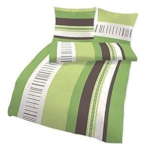 bettw sche gr n braun gestreift 135x200 baumwolle jugendliche linon trend k che. Black Bedroom Furniture Sets. Home Design Ideas