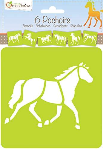 Avenue Mandarine 42644O Set (mit 6 Schablonen, 15 x 15 cm, geeignet für Kinder ab 3 Jahre, für Filz- und Farbstifte, Farben oder Farbbomben, Pferde) 6er Pack -