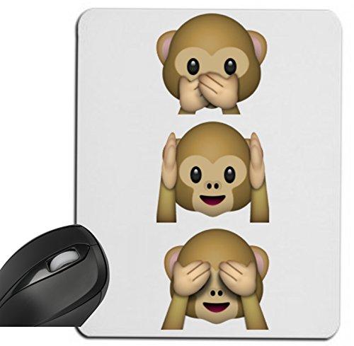 """Preisvergleich Produktbild Mauspad """"Nichts-Böses-Sagen-Sehen-Hören Affen"""" Drei Affen 3 Monkey aus Keramik, Smiley, Emoji, Deko, Kult, Kaffeetasse, Teetasse, IPhone, Emoticons."""