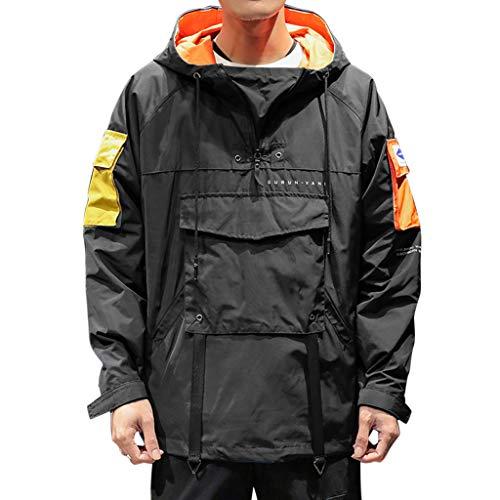 Xmiral Kapuzenpullover Herren Patchwork Pullover mit Kapuze Multi-Pocket Mäntel Lose Overalls Sport Outwear Mantel Jacke(Schwarz,L) - Tweed Duffle