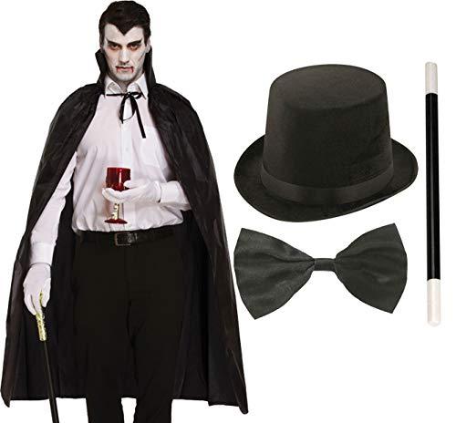Lincoln Hut Kostüm Top - labreeze Schwarzer Umhang Lincoln Top Hut Fliege Zauberstab Halloween Vampir Kostüm