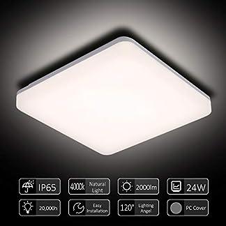 Lampada da Soffitto LED,Tomshine 24W LED Lampada Plafoniera Impermeabile a Soffitto Sottile Bianco Naturale 4000K per Living Kitchen Balcony Corridoio Corridoio