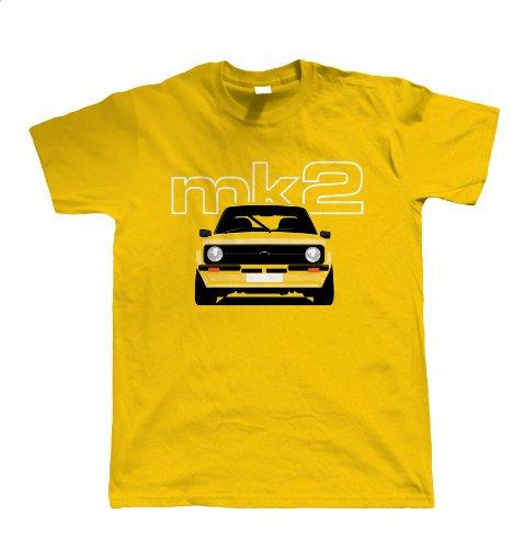Mk2 Escort Classic Car Mens T-Shirt, Gold