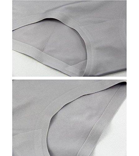 POKWAI Frau Super Bequeme Innenaufnahme Unterwäsche-Spitze-Rand In Der Taille Einfache Solid Color Ice Silk Briefs Hosen Hip 4 Paket 9