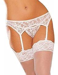 1Set Lencería,Hiroo Conjunto Sexy Mujer Garter-cinturón G-cuerda Medias Ropa interior de ropa interior blanca (Blanco, tamaño libre)