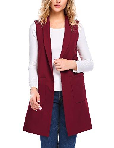 online store a9e46 50512 Parabler Damen Lang Weste Ärmellos Jacke Winter Herbst Offen ...