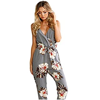 Women Jumpsuit, Women Clubwear Sleeveless Floral Print Party Jumpsuit Playsuit Beach Trouser (L, Gray)