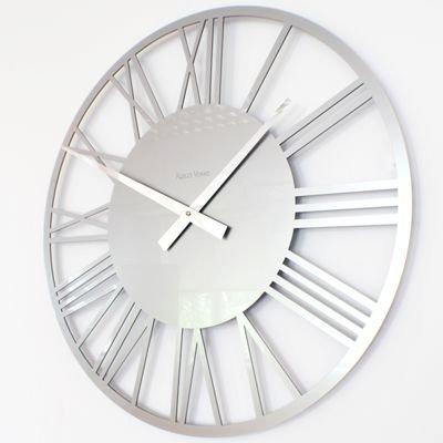 RocoVerre Acrylic Gloss Skeleton Roman Clock SMALL (SILVER 34cm Dia)