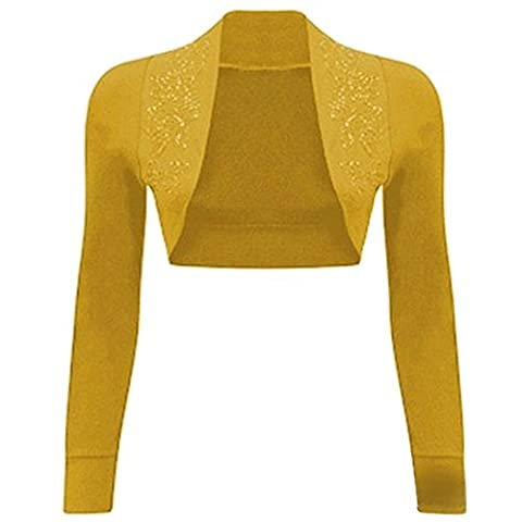 Islander Fashions Womens Long Sleeves Sequin Beaded Bolero Shrug Mustard SM