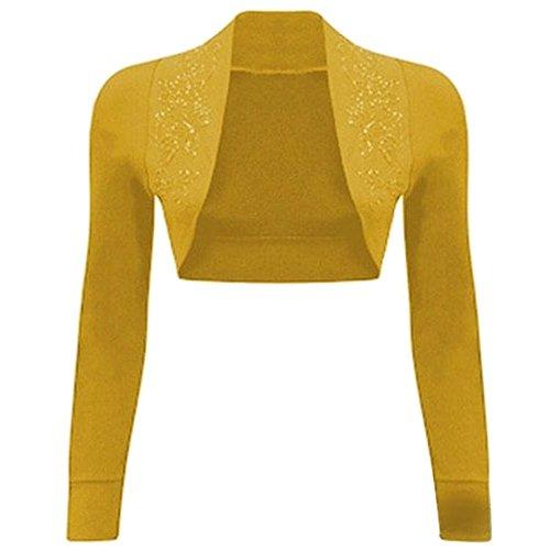 Janisramone donne paillettes 100% cotone a costine top a manica lunga maglia bolero scrollata di spalle Senape