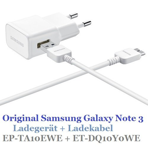 Alimentatore EP-TA10EWE originale SAMSUNG GALAXY Note 3 + cavo di ricarica ET-DQ10Y0WE