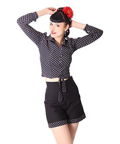 SugarShock Reeva Polka Dots Rockabilly 50er Jahre Pin Up retro Binde Bluse , Größe:L, Farbe:Schwarz (Button-down-vintage-shorts)