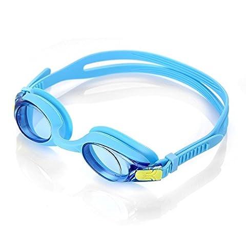 HiCool Lunettes de Natation Antibuée Lunettes de Piscine Enfant avec Étui de Protection (Bleu)