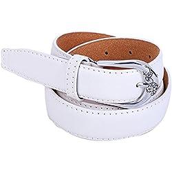 zolimx Cinturones de mujer, Accesorios vintage Casual ocio delgado correa (Talla única, blanco)