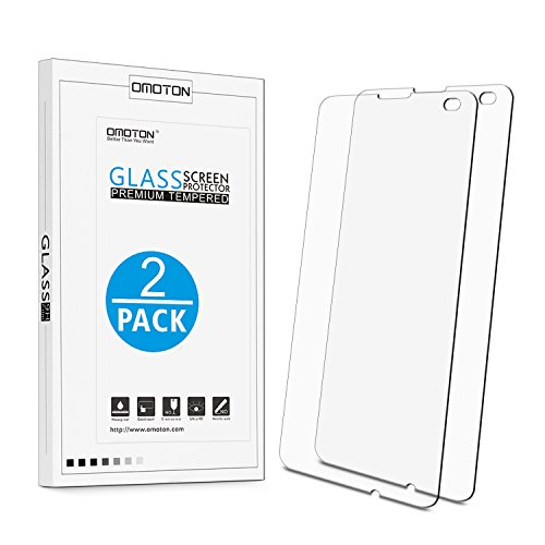 [2Stück] OMOTON Panzerglas schutzfolie für Microsoft Lumia 550 mit [2.5D abgerundete Kanten ] [9H Härte] [Kristall-klar [kratzfest] [Luftbläschen-frei]
