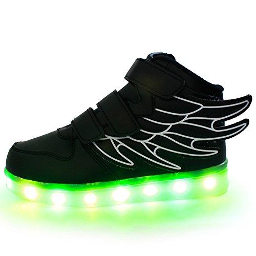 Moollyfox Enfants LED Light Up Flashing Avec Des Ailes Sneakers Noir