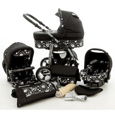 Chilly Kids Dino Kinderwagen Winter-Set (Winterfußsack, Autositz & Adapter, Regenschutz, Moskitonetz, Getränkehalter, Schwenkräder) 61 Schwarz & Schwarze Totenköpfe