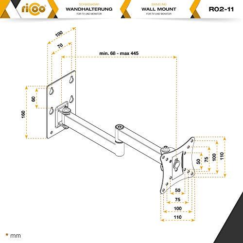 RICOO Monitor-Halterung R02-11 Monitor-Halter Wandhalterung-TV Schwenkbar Neigbar LCD LED Wandhalter fuer Flach-Bildschirm PC-Monitor 43-49-54-61-68cm / 17′ 19′ 22′ 24′ 27′ Zoll | VESA max. 100 x 100 universell | Wandabstand nur 68 mm | - 7