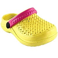 Luvable Friends Baby Wide Band EVA Clogs (12 - 18 Months, Yellow & Pink)
