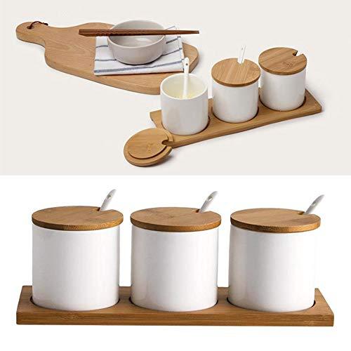Brownrolly Keramikküchen-Gewürzglas, Gewürzbehälter mit Bambusdeckeln, Kappenhalter Spot-Servierlöffel mit Tablett für Zuckerdose Tee-Kaffee-Gewürznuss-Glas mit Dressings (Kaffee-topf-tray)