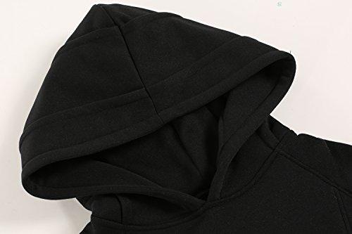 Damen Sweatshirt Hoodie Kapuzenpullover Kapuzenpulli sport casual Pullover Pulli mit Kapuze Schwarz