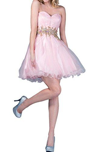 Milano Bride Luxurioes Blau Steine Damen Abendkleider Ballkleider Kurzes Cocktailkleider Partykleider Mini Rosa