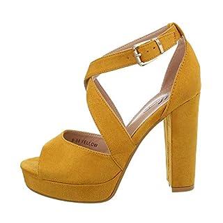 Ital-Design Damenschuhe Sandalen & Sandaletten High Heel Sandaletten Synthetik Gelb Gr. 40