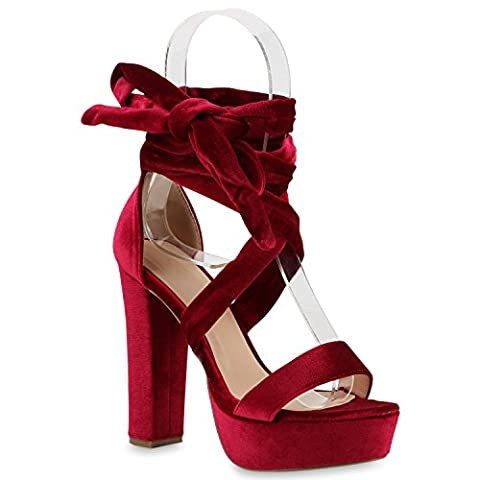 Damen Plateau Sandaletten Peeptoes Party Pumps Blockabsatz High HeelsSatin Samt Strass Fransen Schuhe 140269 Rot Band 38 | Flandell®